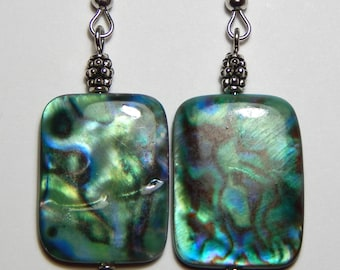 Blue Green Shell and Silver Earrings