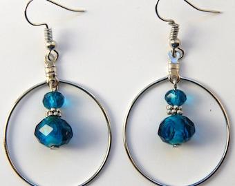 Aqua and Silver Hoop Earrings