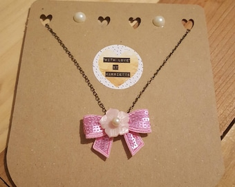 Pink Sequin Bow Necklace