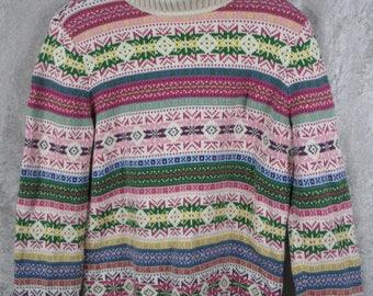 Vintage Villager Liz Claiborne Company Turtle Neck Sweater Size M/L 100% Cotton