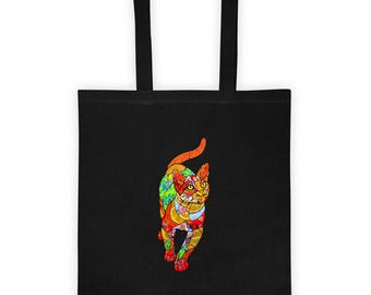 Original Mosaic Cat by Solange Piffer on a Tote bag
