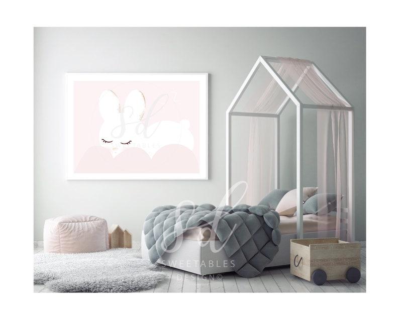 pink and gold printable baby room decor Animal printable playroom decor Minimalist Bunny sleeping nursery wall art girls room bedroom