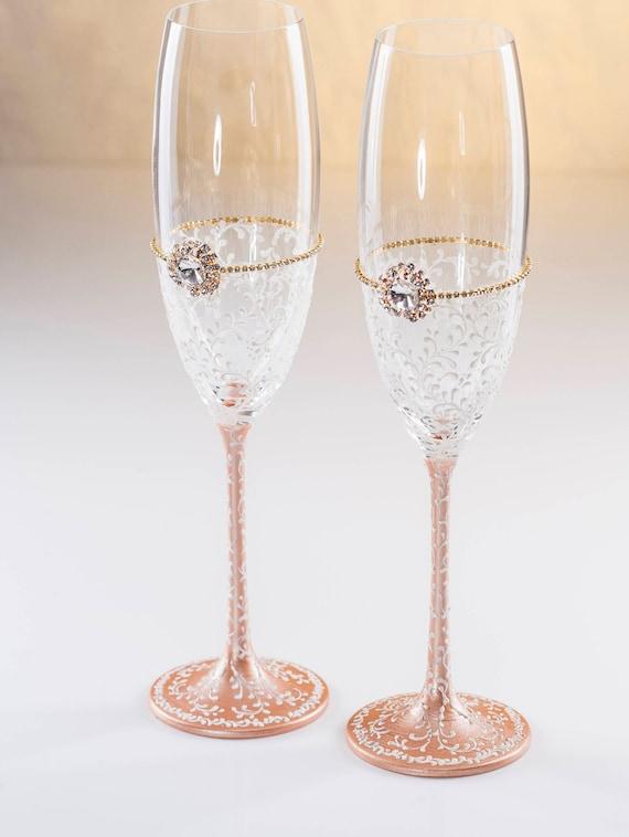 Rose Gold Hochzeit Gläser Hochzeit Sektgläser Toastin Flöten Rose Kalt Vintage Hochzeit Gläser Champagner Rose Gold Brille