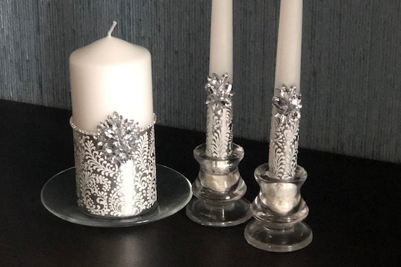 Wedding Beautiful Silver Unity Candle Decoration FAST SHIPPING!! Unity Candles Anniversary