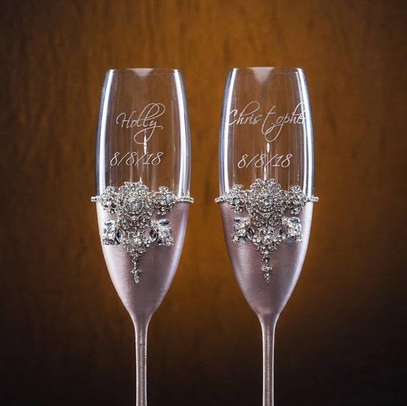 Dunkle Rose Gold Hochzeit Sektgläser Rose Gold Hochzeit Gläser Personalisierte Gläser Gravierte Gläser Jahrestag Geschenk Hochzeit Geschenk Flöte