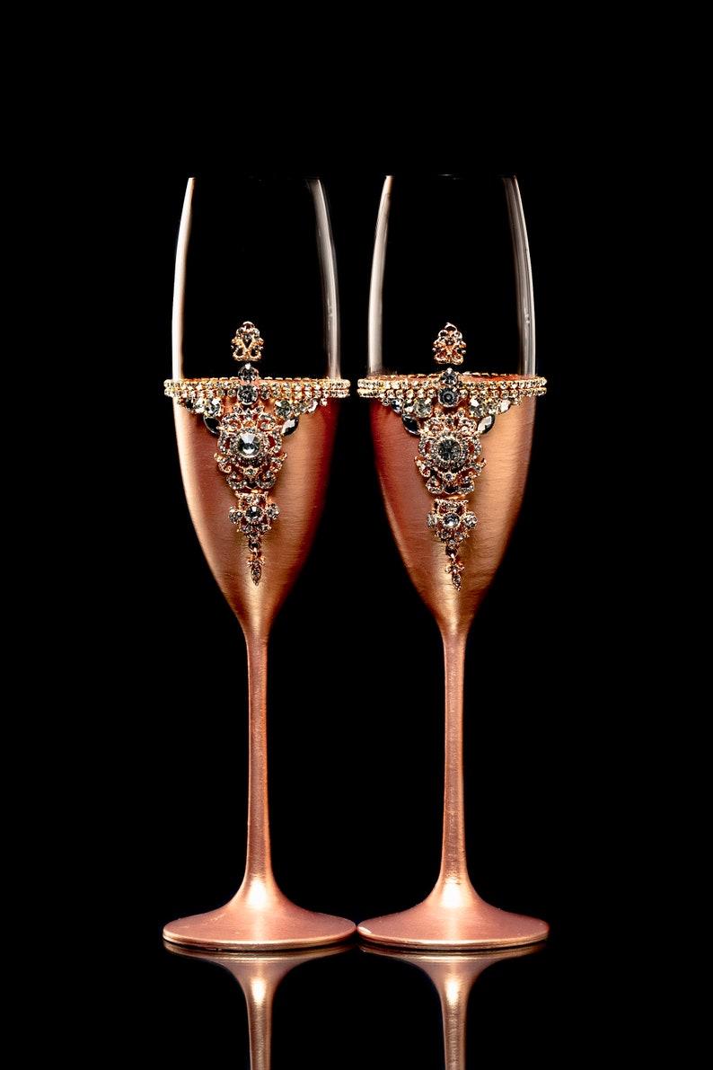 Verres de mariage personnalisé gravure gâteau Server Or Rose mariage lunettes Or Rose Cake Server couteau grillage flûtes cadeau fait à la main