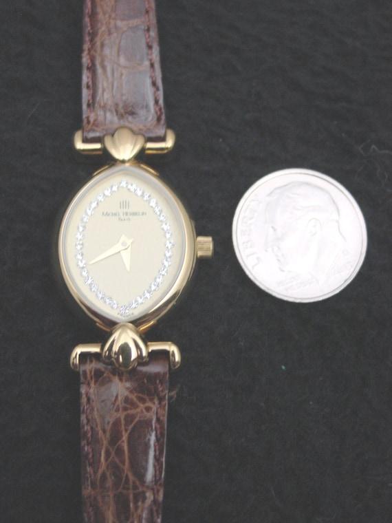 Michel Diamonds Ladies Watch Oval Gold French Faux Leather Herbelin 0Nvmw8n