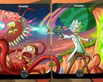 2x Full Art Land Swamp Custom Basic Non Foil Or Option Altered MTG Card