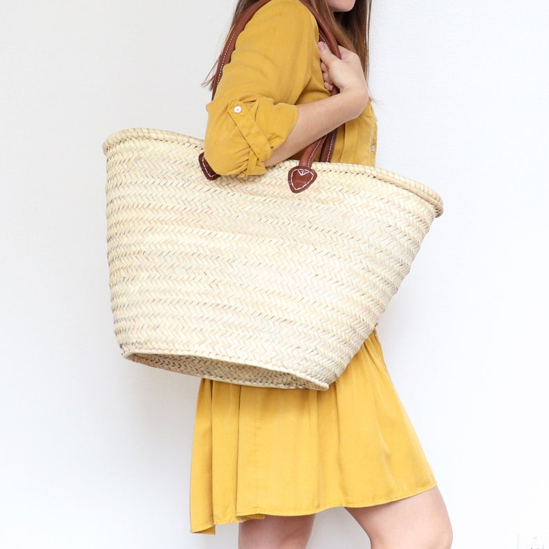 Straw bag with Long tan Leather Handles  French Style image 0