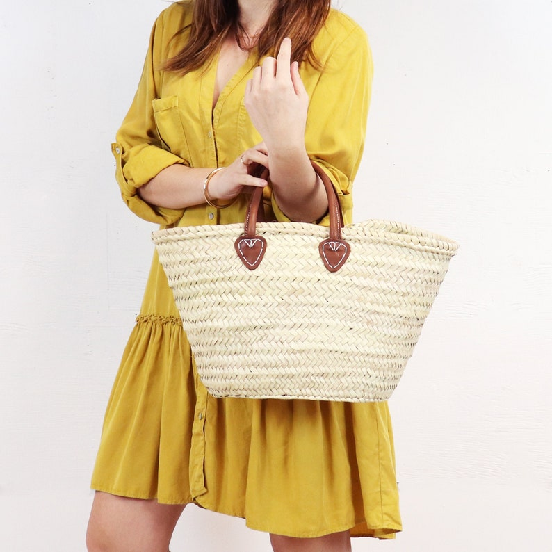Straw bag with Short Tan Leather Handles  French Style image 0