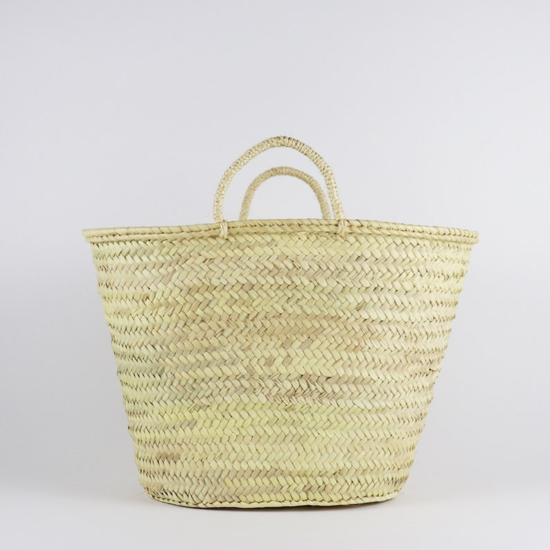 Straw Market Basket Bag with Straw Handles French style shopping and grocery bag