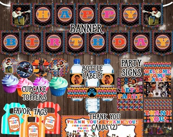 Coco Party Kit Printable Decorations Pack Birthday Banner Stickers Favors Thank You Card Labels