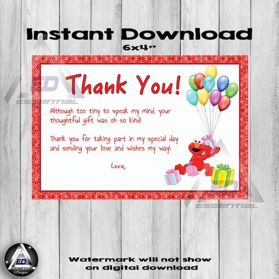 Elmo Thank You Card Sesame Street Party Birthday Printable Etsy