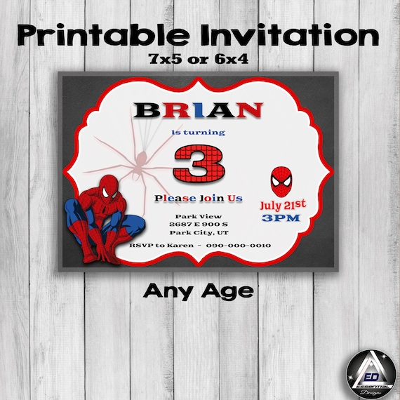 Spiderman Birthday Invitation Spiderman Party Printable First Birthday Party Favors Kids Invitations Party Invite Spider Man Invite