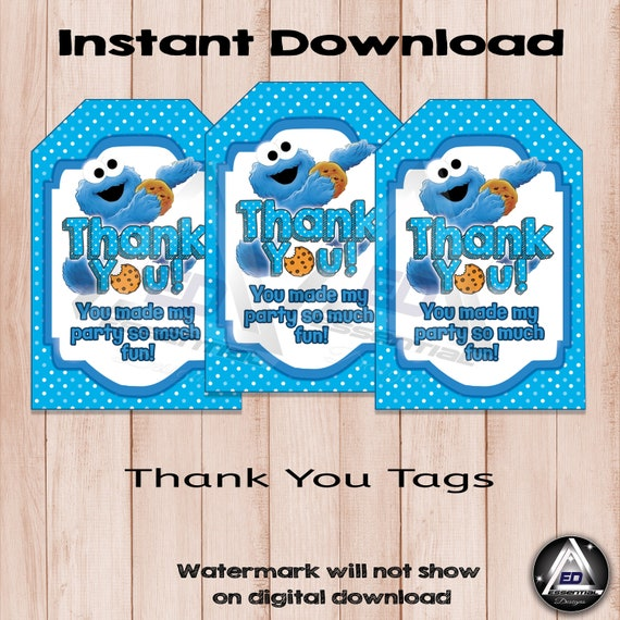 picture about Cookie Monster Printable referred to as Cookie Monster Thank By yourself Tags, Printable Thank Oneself Tag, Little one Cookie Monster Bash, Social gathering Like Tags, Printable Bash Favors, Birthday Bash