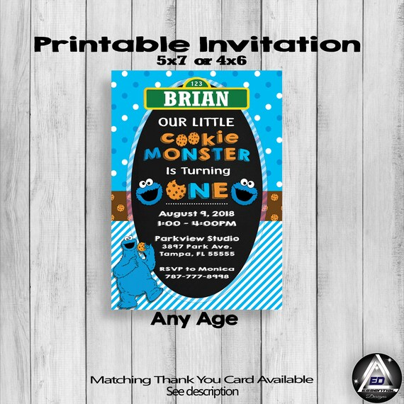 Cookie Monster Invitation Personalized Invite