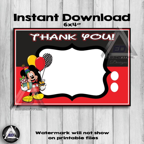 Mickey Mouse Thank You Card Mickey Mouse Birthday Party Etsy