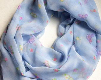 Long Butterfly Infinity Scarf