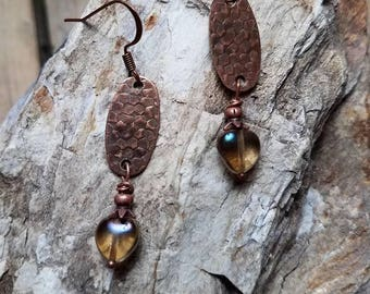 Hammered Copper Dangle Earrings