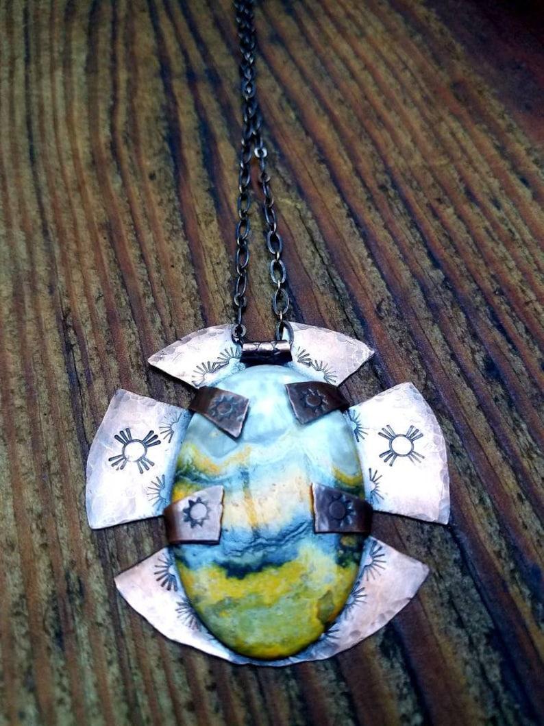 Bumblebee Jasper Pendant in Copper