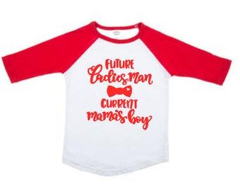 Boys Valentine Shirt - Future Ladies Man Current Mama's Boy Tshirt