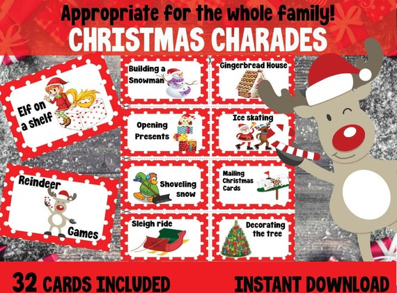 Christmas Charades Party Game Printable Christmas Party Etsy