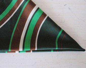 Vintage Scarf, Hipster Scarf, Mod Neck Scarf, Women's Head Scarf, Green Scarf, Striped Scarf