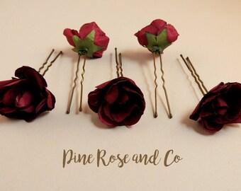 Rose Hair Pins//Flowers//Boho//Wedding//Hair accessories//