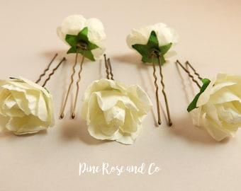 White Rose Hair Pins//Flowers//Boho//Wedding//Hair accessories//