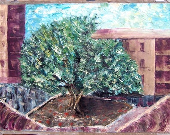A tree oil painting on canvas cm 80x60-spatula and brush-cityscape Ooak stocking stuffer