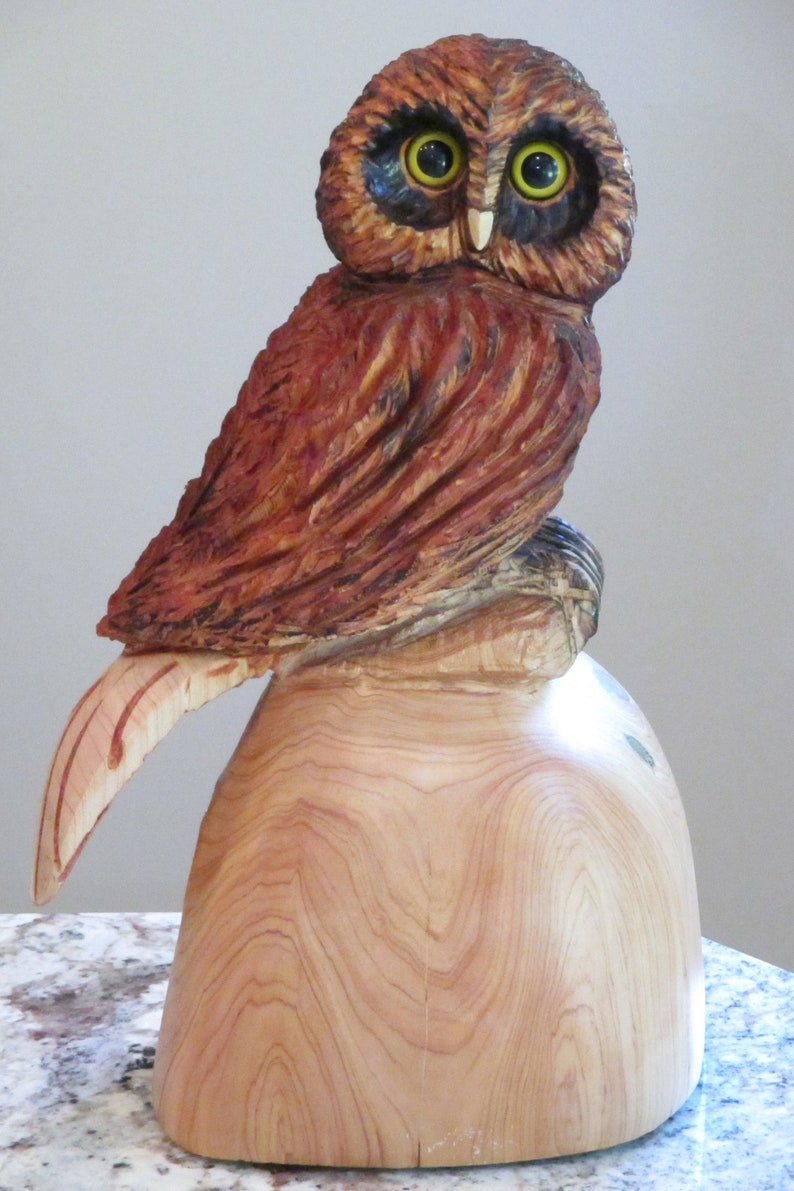 Chainsaw carving owl original carving hand made by carver a etsy