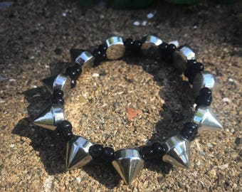 NO PLAYING...silver spiked double strand stretch bracelet ...choose your color
