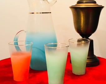 Vintage West Virginia Blendo Mid Century Glassware, Blendo Glass Tumblers, Retro Barware