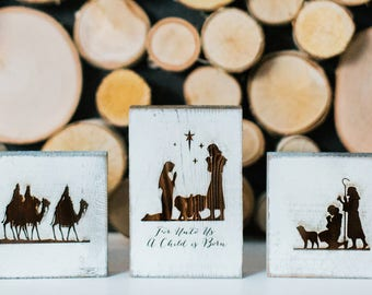 Rustic Nativity Scene - 3 Piece