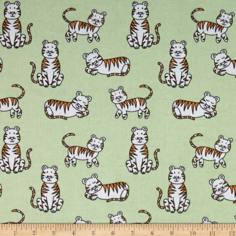 Two Yards of Rare Flannel Tiger Tykes Michael Miller Mid Century reproduction novelty green mint 100/% of your purchase goes to charity