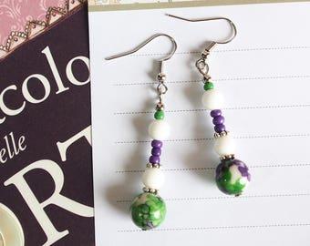 Purple and green short earrings