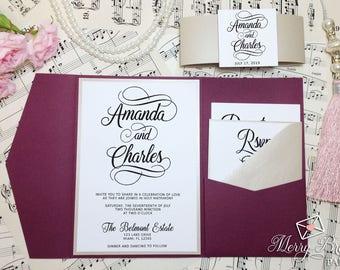 Burgundy and Beige Wedding Invitation, Burgundy Wedding, Pocketfold Wedding Invitation, Watercolor Flowers,Burgundy Wedding Invitation, #C44