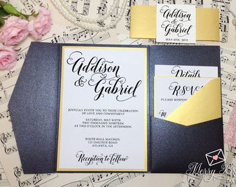Black and Gold Wedding Invitations, Black and Gold Wedding, Pocketfold Wedding Invitation, Black Pocketfold, Gold Wedding invitation, #C21