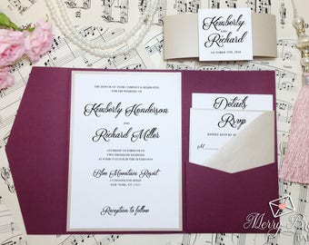 Burgundy and Beige Wedding Invitation, Burgundy Wedding, Pocketfold Wedding Invitation, Watercolor Flowers,Burgundy Wedding Invitation, #C43