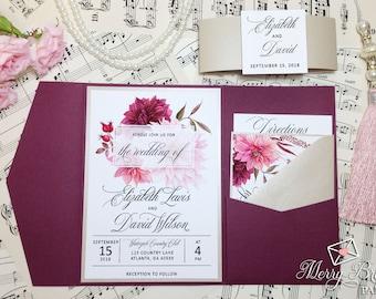 Burgundy and Beige Wedding Invitations, Burgundy Wedding, Pocketfold Wedding Invitation, Watercolor Flowers,Burgundy Wedding Invitation, #B4
