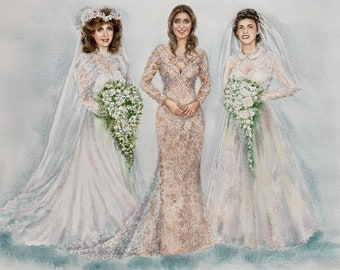 Custom Wedding Family Painting/Family Brides in time portrait/Painting from old photos/custom Watercolor painting from old photos