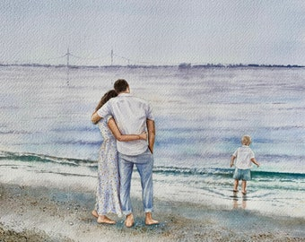 Custom Family Watercolor Painting/commission family painting from photo