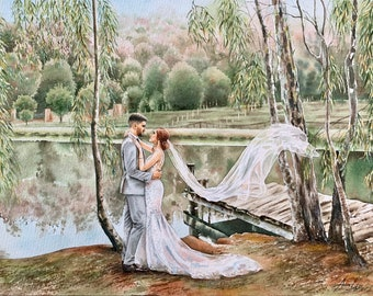 Custom wedding watercolor painting/commission watercolor painting from photo