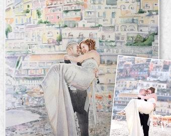 Wedding Couple Portrait Commission,Custom Wedding Watercolor,Anniversary Couple Gift from your Photo,Positano Wedding Portrait Wall Art
