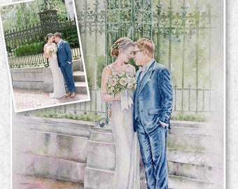 Wedding Portrait Commission,Custom Wedding Watercolor,Anniversary Couple Gift from your Photo,Wallart