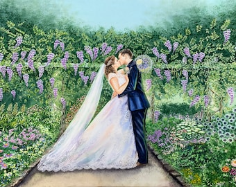 Custom wedding watercolor painting/commission bridal watercolor painting from photo