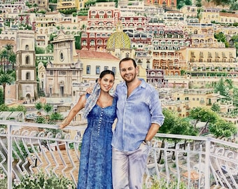 Engagement painting/custom portrait/commission painting from photo/watercolor painting/couple's painting