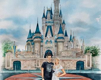 Custom couple's portrait/Engagement portrait/Wedding anniversary/Commission couple's watercolor painting from photo