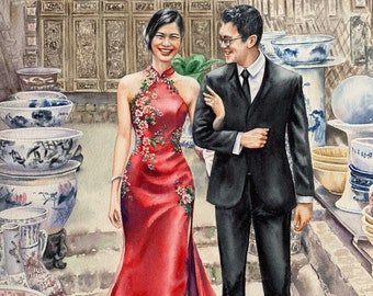 Custom wedding painting/commission portrait from photo/wedding anniversary gift/wedding watercolor painting