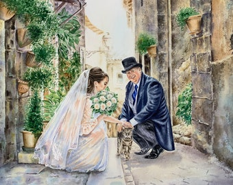 Custom wedding painting from photo/ commission painting/ wedding watercolor painting